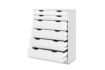 Tallboy 6 Chest of Drawers Dresser Storage for Bedroom - White