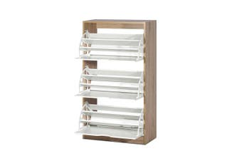 Shoe Storage Cabinet 3 Shelf Shoes Organiser - White and Wood Colour