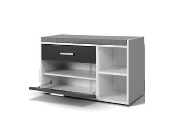 Shoe Storage Cabinet and Bench 2 in 1 Fabric seat - White & Grey
