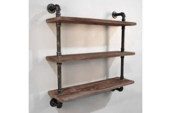 Bookshelf Wall Mounted Display Shelves DIY 3 Level Industrial Style