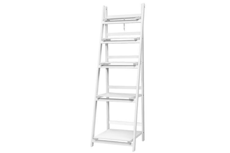 Display Shelf 5 Tier Ladder Shelf Bookshelf - White