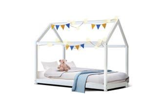Wooden Bed Frame Single Size  Base Pine Timber Platform White