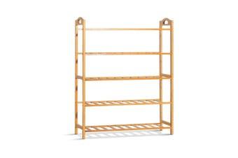 Bamboo Shoe Rack Organiser 5-Tier Shelf Shoes Storage