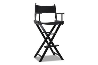Tall Director Chair Foldable Beech Wood Frame - Black