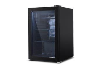 Bar Fridge Wine Fridge Drinks Beverage Cooler Glass Door 70L Capacity - Black