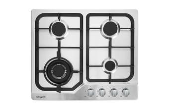 Gas Cooktop 60 cm LPG Gas 4 Burner Stove Top Stainless Steel Knob Control