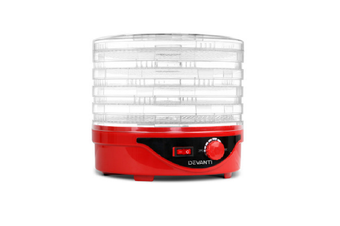 Food Dehydrator Fruit Beef Jerky Dehydrator with 5 Trays, Easy to Clean - Red