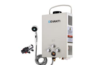 Gas Hot Water Heater Portable Shower Camping with 12V Water Pump Outdoor Beige