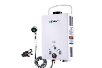 Portable LPG Gas Water Heater with Pump Caravan Boat Shower Hot Water - White