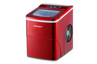Ice Cube Maker Portable Machine 2L Water Tank Easy Quick Ice Making - Red