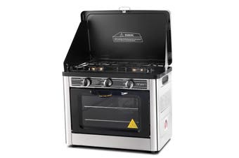 Gas Stove & Oven Portable w/ 2 Burner Stove Top Camping Caravan Stainless Steel