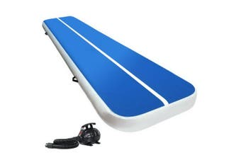 4X1M Inflatable Air Track Mat 20CM Thick with Pump Tumbling Gymnastics Blue