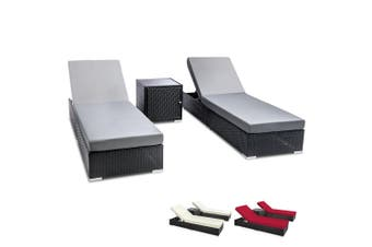 Outdoor Lounge Wicker Lounger Pool Furniture Rattan Sofa Cushion 3pc Black Frame