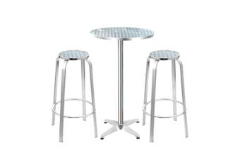 Outdoor Bistro Set Bar Table Stools Adjustable Aluminium 3PC Round