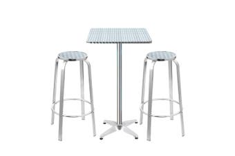 Outdoor Bistro Set Bar Table Stools Adjustable Aluminium 3PC Square