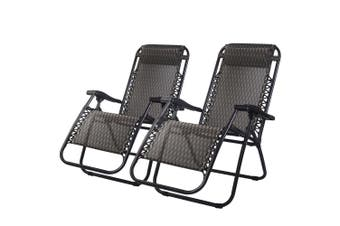 Outdoor Furniture Set of 2 Folding Chairs Grey