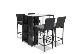Outdoor Bar Set with Bar Table & Bar Stools 5pcs Furniture Wicker