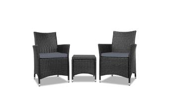 Outdoor Furniture Set Rattan Bistro with Outdoor Chairs & Table Black