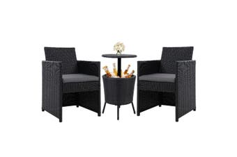 Outdoor Furniture Set Wicker Chairs & Bar Table 3 Piece Patio Set