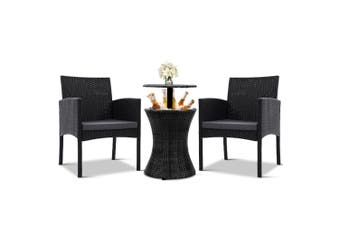 Outdoor Furniture Set Wicker Chairs & 3in1 Table Drinks Ice Cooler