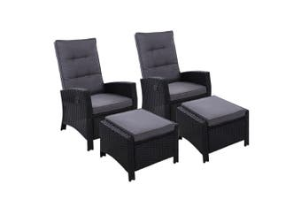 Outdoor Furniture Wicker Chair Cushion Ottoman - Set of 2 Chairs Black