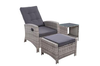 Outdoor Setting Recliner Chair Table Set Wicker lounge Patio Furniture Grey
