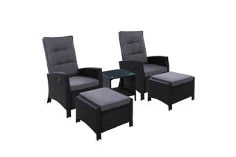 Outdoor Patio Furniture Recliner Chairs Table Setting Wicker Lounge 5pc Black