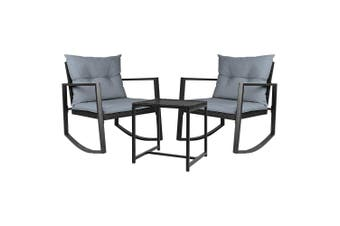 Outdoor Furniture Set 3 piece with Rocking Chairs, Cushion & Table - Black