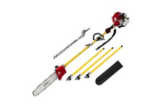 """Chainsaw Hedge Trimmer 75cc 12"""" Petrol 2in1 Multi Garden Tool w/ Extension Poles"""