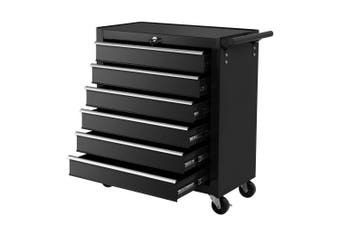 Tool Box Trolley Chest Cabinet 6 Drawers Tool Set Black Cart Garage Storage