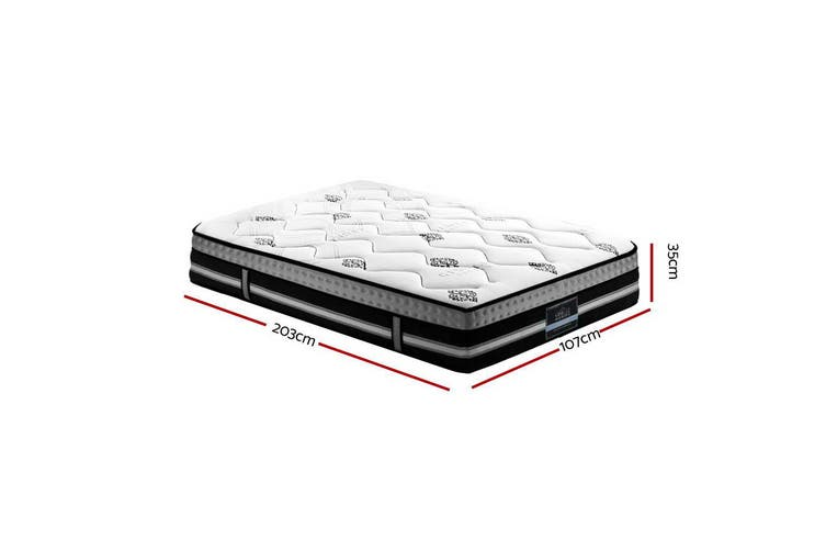 King Single Mattress 35cm thickness Medium Firm 7 Zone Pocket Spring Gel Foam
