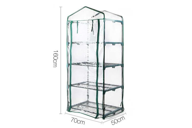 Greenhouse Mini / Small Backyard Garden PVC Cover, 4 Plant Shelves 70x50x160cm