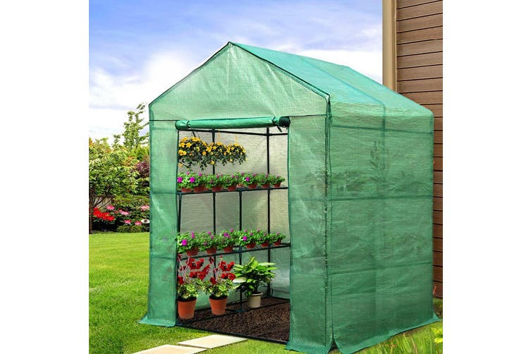 Greenhouse Walk In Green House 1.4x1.55m with 4 Plant Shelves Steel Frame, Cover