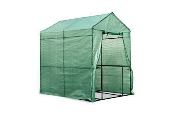 Greenhouse Walk In Green House 1.9 x 1.2m Steel Frame PE Cover