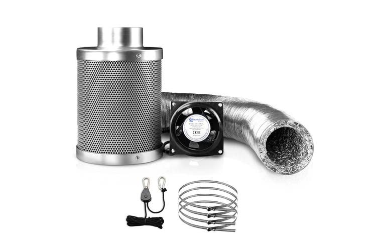 Grow Tent Ventilation Kit Hydroponic 4 inch Vent Fan, Carbon Filter 5m Ducting