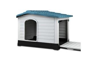 Dog House Pet Kennel Shelter - Blue Rooftop