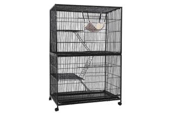 Rabbit Pet Animal Cage 4 Level Metal Bird Cage Aviary with Ladder & Wheels 142cm