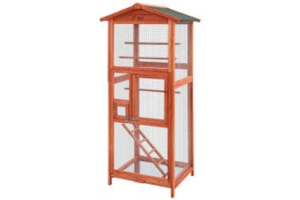 Bird Cage Pet Aviary Tall Hutch Wooden Frame Mesh Wire 72 x 60 x 168cm