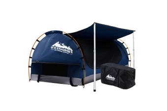 Double Camping Swag Outdoor Tent Ripstop Canvas - Dark Blue