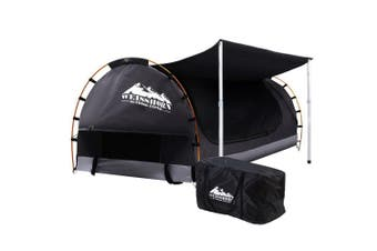 Camping Swag Double Outdoor Tent with Mattress - Dark Grey