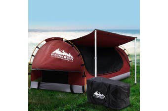Double Camping Swag Ripstop Canvas - Red with 7cm Mattress