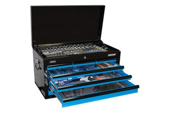 SP Tools Kit 7 Drawer Tool Box 406 piece METRIC/SAE SP50171 Black/ Blue Tool Set