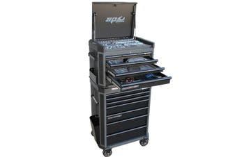 SP Tools Kit 14 Drawer Tool Box Roller Cabinet 296 pc Metric SAE Black SP52295D