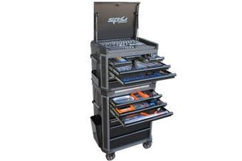 SP Tool Box 293 pc Tools Kit SP52565 14 Drawer Trolley Cabinet Diamond Black