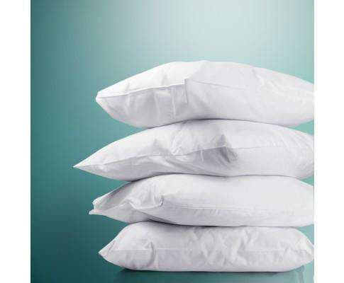 Set of 4 Medium & Firm Cotton Pillows Set of 4 Pillows 2 Firm & 2 Medium Introducing you these polyester fibre filling pillows! Comes with 2 medium and 2 soft pillows, they suit back and stomach sleepers. If you and your family have the common sleeping posture, this sets of pillows are the right one to get. If you run a hotel or Air BnB, these pillows will save you a fortune from purchasing them in the retail stores. Provide your guests more options to choose from, if they're uncomfortable with the current one.Note: The pillows are vacuum packed in the box.Features * A set of 4 pillows * Different firmness level * 100% cotton cover * Polyester fibre filling * Firm pillows – Suitable for side sleepers * Medium pillows – Suitable for back sleepers * Great for families, hotel or Air Bnb * Fits standard size pillow coversSpecifications * Overall dimension: 73 × 48cm * Filling: Polyester * Firm pillow weight: 800g * Medium pillow weight: 650gPackage Contents 2 x Firm Pillows 2 x Medium Pillows