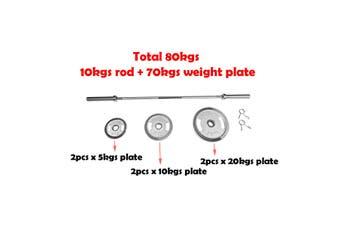 83Kgs Olympic Chrome Barbell Set, 180cms Bar Ez Grip Iron 5kg 10kg 20kg Weight Plate