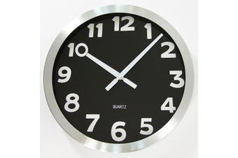 Round Wall Clock Aluminium Modern Decor Silent Quartz