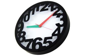 Nova Clock Metal Number Casing Modern Designer Quartz - Black