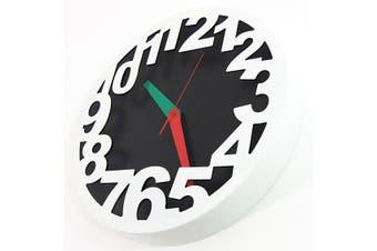 Nova Clock Metal Number Casing Modern Designer Quartz - White