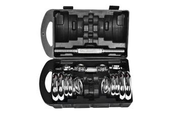 Chrome Dumbbell Set BarBel Home Gym Exercise Weight Adjustable 20Kgs